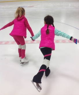 Figure Skating Friends Holding Hands Skating